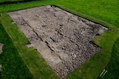 Aerial photo of excavations at Binchester Roman Fort