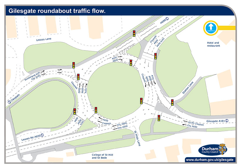 Gilesgate roundabout traffic flow map