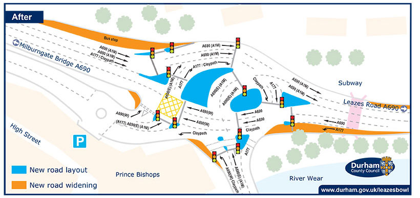 Leazes Bowl traffic improvement works April to October 2016 map