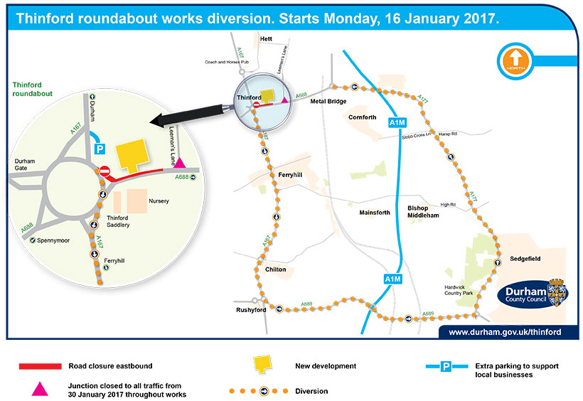 Thinford roundabout diversion