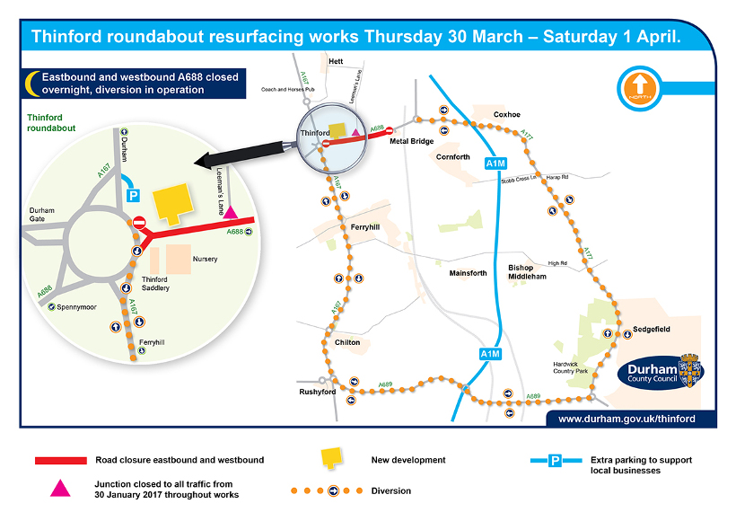 Map showing Thinford roundabout roadworks