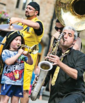 Musicians taking part in Streets of BRASS 2016