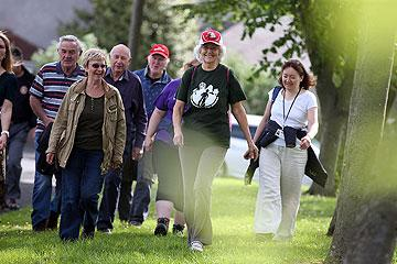 People taking part in a health walk, part of the Walk Durham scheme