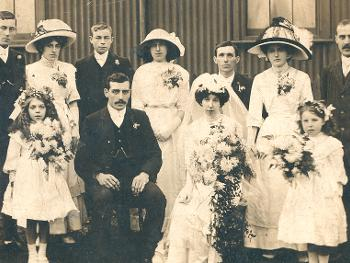 Mr and Mrs Mole's wedding party of Leasingthorne around 1910