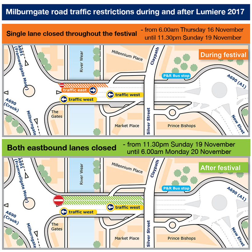 Milburngate road traffic restrictions during and after Lumiere 2017