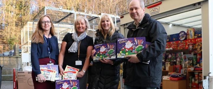 Festive food donations handed to Durham Foodbank - mobile version