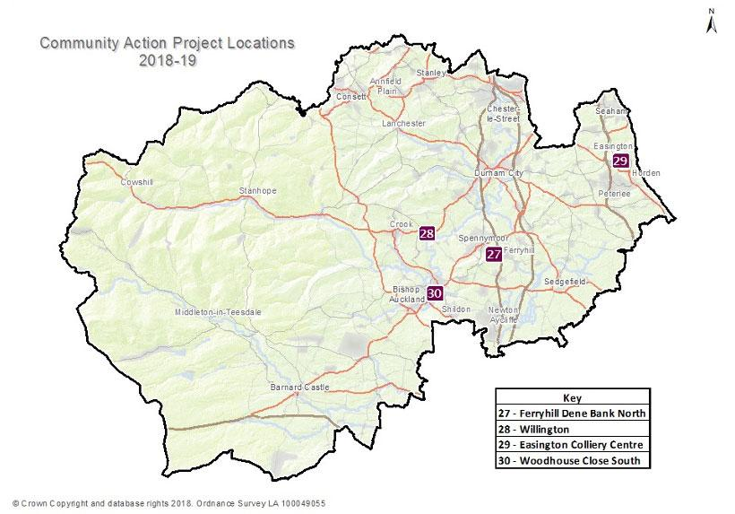 Community Action Project Locations - 2018/19