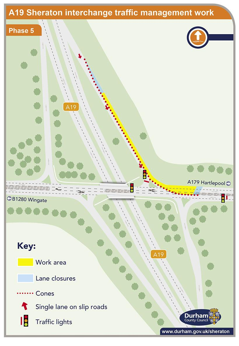 A19 Sheraton interchange traffic management work - phase 5