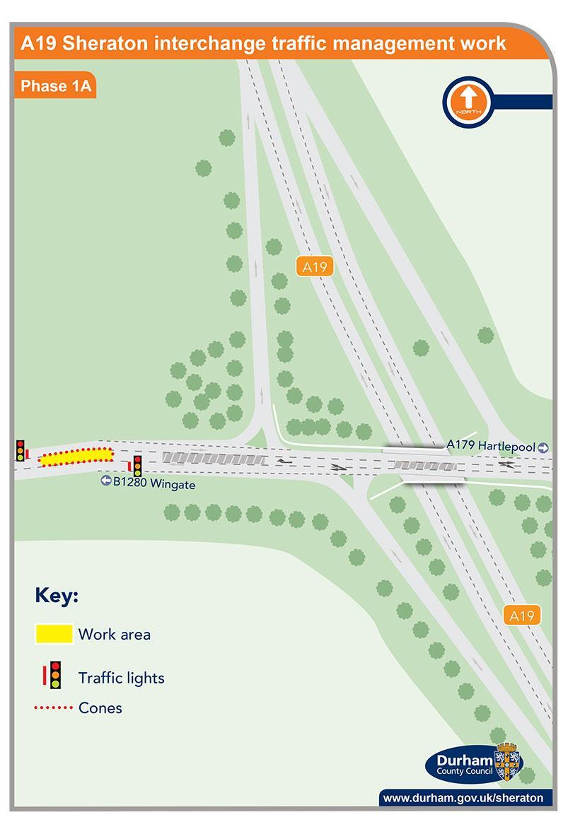 A19 Sheraton interchange traffic management work - phase 1a