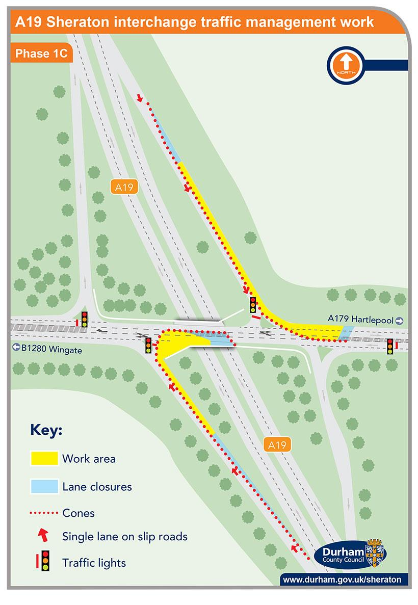 A19 Sheraton interchange traffic management work - phase 1c