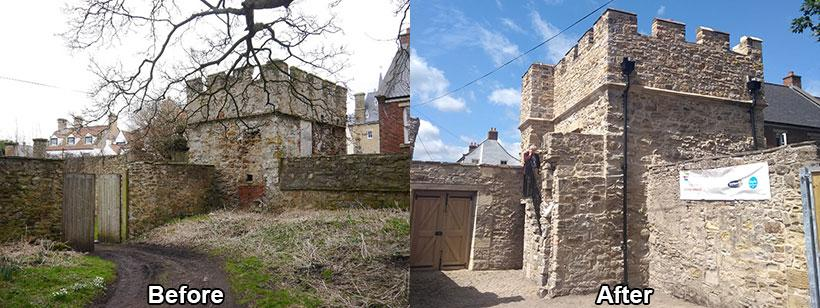 West Mural Tower before and after