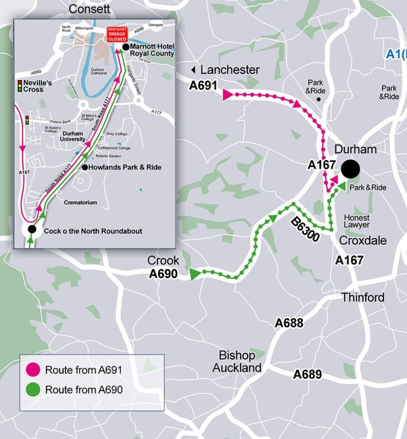 New Elvet Bridge: diversions from West