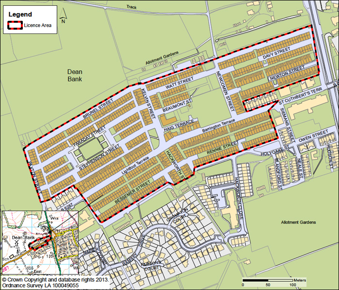 Dean Bank, Ferryhill selective licensing area - map