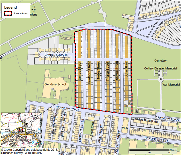 The Wembley Area, Easington Colliery selective licensing area - map