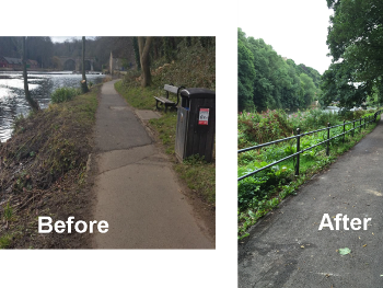 River Safety barriers, before and after