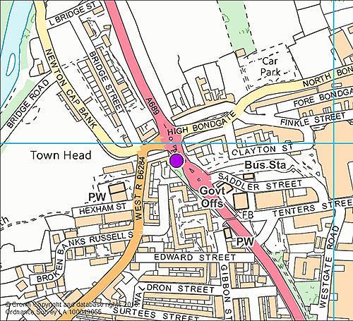 Bishop Auckland 2 - Newton Cap camera location map