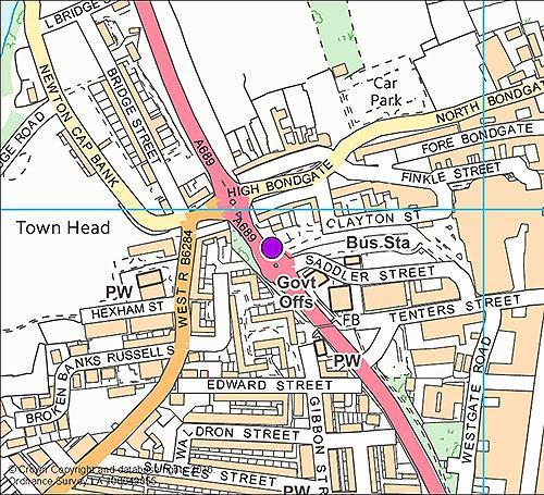 Bishop Auckland 3 - Bus Station camera location map