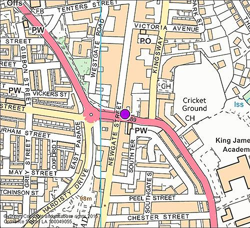 Bishop Auckland 5 - Princes Street West Approach camera location map