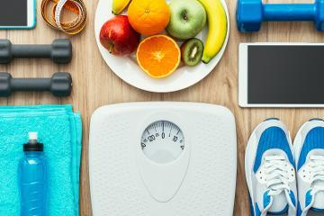 Gym equipment, scales, fruit