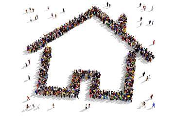 House shape made of people