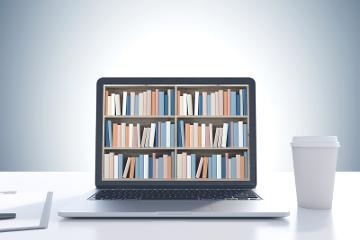 Books on a computer screen