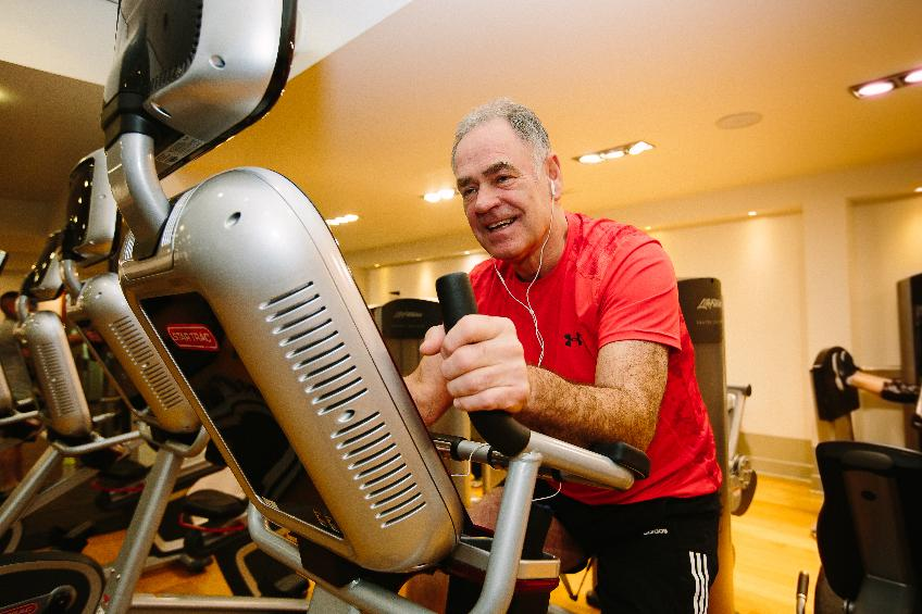 Man cycling in the gym