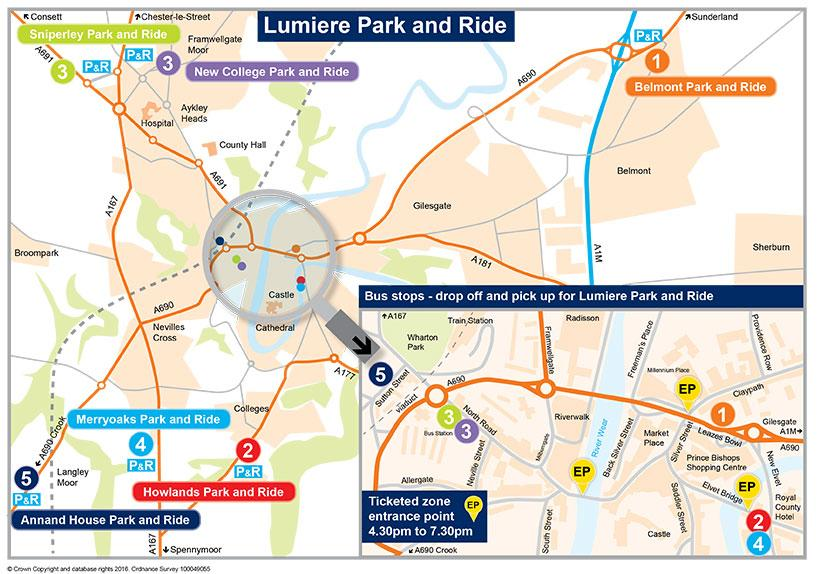 Lumiere Park and Ride Map 2019