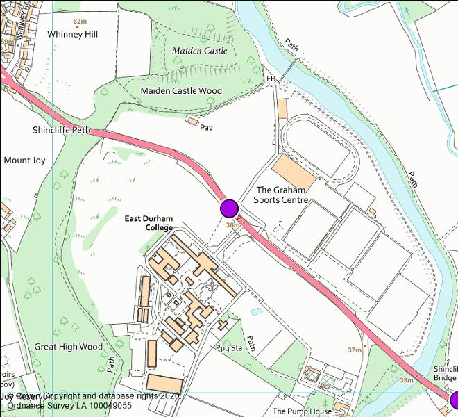 A177 Houghall camera location map