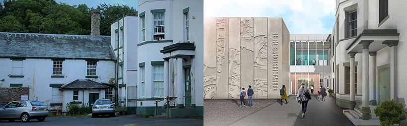 Durham History Centre entrance - before and after