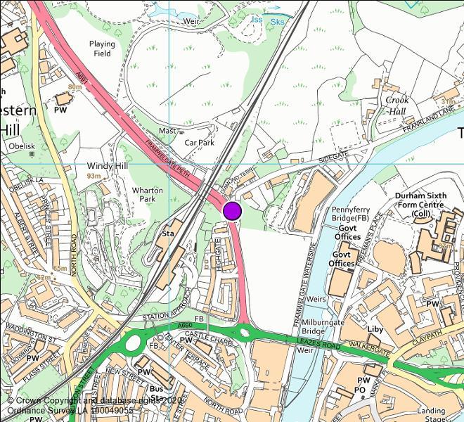 A691 Framwellgate Peth camera location map