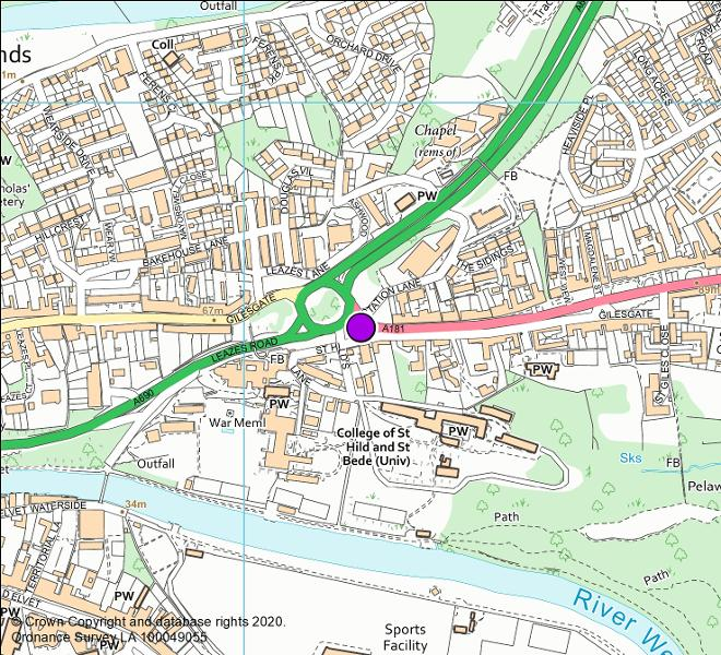 A181 Gilesgate Bank camera location map