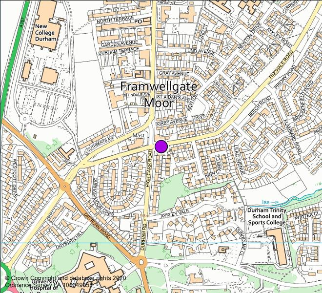 Finchale Road, Framwellgate Moor (looking west) camera location map