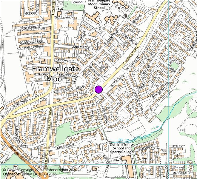Finchale Road, Framwellgate Moor (looking north east) camera location map