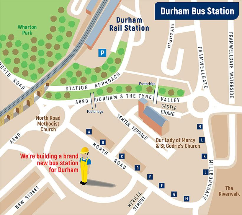 Durham bus station bus stop location map