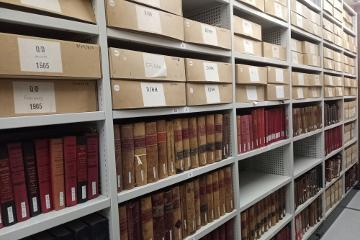 Durham Record Office shelves