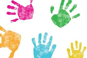 Children's painted hand prints