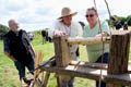 Visitors Robert and Mandy Taylor talk with Wood Turner Steve Mutch Binchester Roman Fort, July 2015