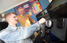 Young man learning to drive