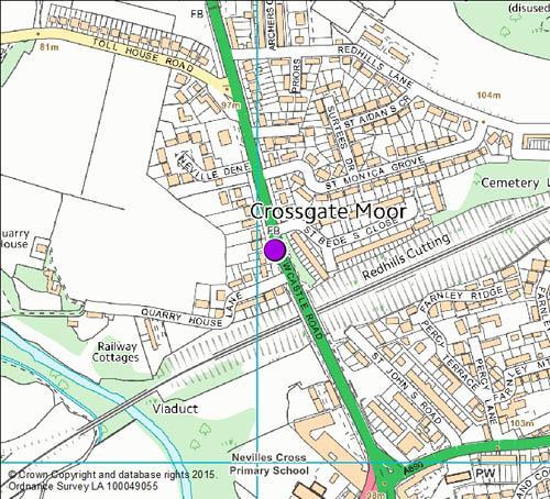 A167 Neville's Cross / Crossgate Moor camera location map