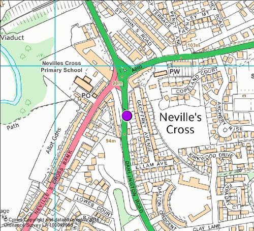 A167 Neville's Cross / Darlington Road camera location map