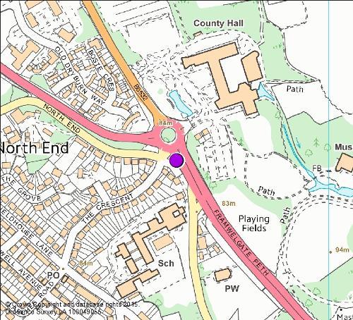 Framwellgate Peth camera location map